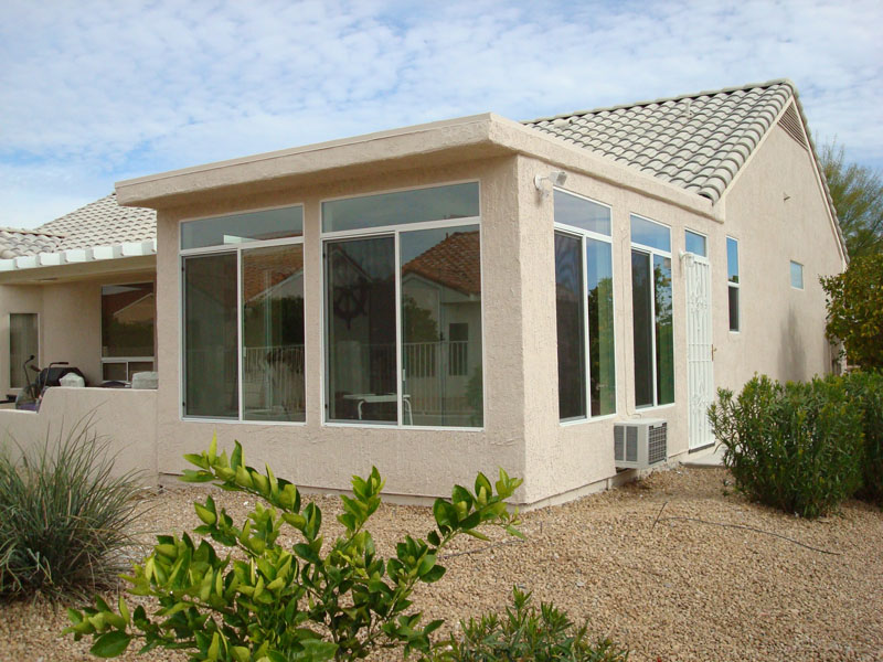Straight eave patio enclosures arizona enclosures and for Sun room additions