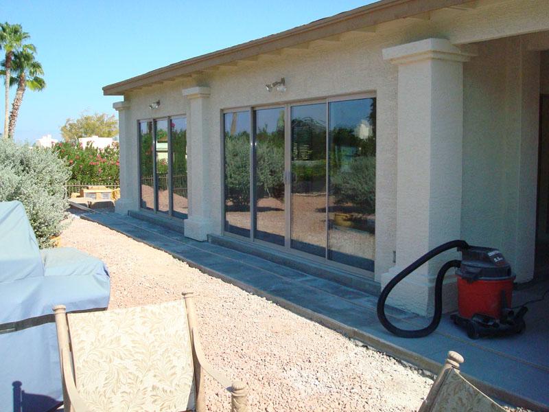 Patio enclosure using sliding glass doors. Fountain Hills Az